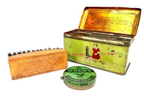 Antique Advertising - Wren's Shoe Polish Tin & Contents / Brush & Wax